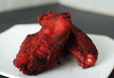 Red velvet battered chicken