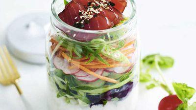 "Recipe: <a href=""http://https://kitchen.nine.com.au/2018/02/14/15/17/hawaiian-tuna-poke-salad-recipe"" target=""_top"" draggable=""false"">Hawaiian tuna poke salad</a>"