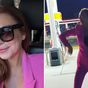 Lindsay Lohan dances outside gas station in bright pink pantsuit