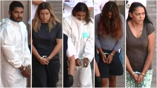 Six people including (LtoR) Jaquan Lebois, Winona Gibb, Tareeka Karterini, Mikayla Saunders, Luetalia Karpany and a 17-year-old girl are all behind bars tonight after a violent assault on two off-duty police officers.