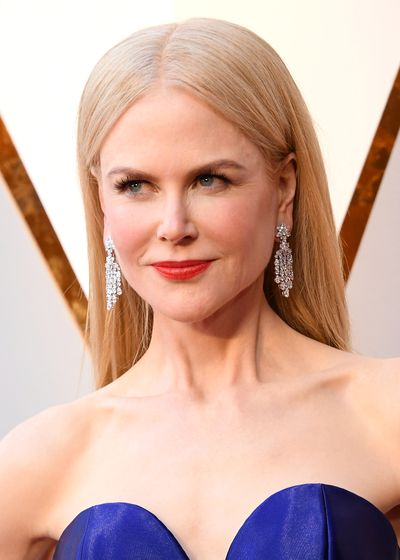 In typical Nicole Kidman style, the actress brought her A-game. The <em>Big Little Lies</em> star opted for sleek, straight locks with fresh-faced makeup, and with a bright orange-toned red lip, she let her lips do the talking.