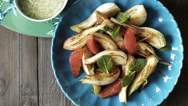 Rocket, fennel, apple and Roquefort salad
