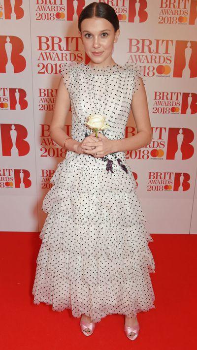 Millie Bobby Brown inRodarte at the 2018 Brit Awards