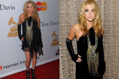 """Hasn't Kesha ever heard the phrase """"less is more""""?<br/><br/>The leather gloves, OTT embellishment and barely-there LBD suggest otherwise..."""
