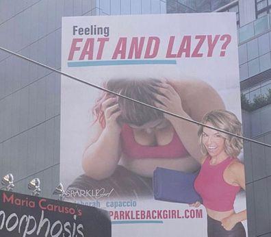 Fat and lazy billboard Jameela Jamil Instagram sign