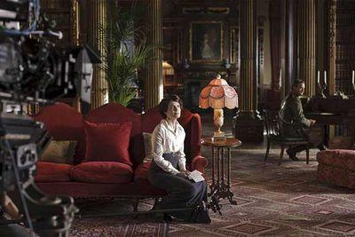 Elizabeth McGovern (Cora) films a scene with Hugh Bonneville (Robert Crawley).