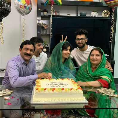 Malala celebrated her graduation from her family home.