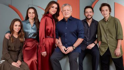 Queen Rania of Jordan with her family for 2020 Christmas portrait with King Abdullah II of Jordan and kids Hussein, Crown Prince of Jordan, Princess Iman bint Abdullah, Princess Salma bint Abdullah, Prince Hashem bin Abdullah