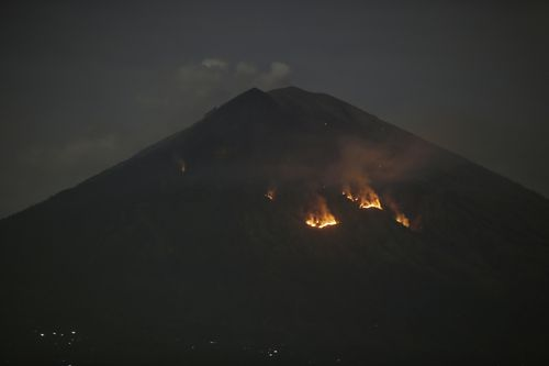 The eruption lasted three minutes 47 seconds and happened at 9pm. There have been no reports of damage or injuries. (AAP)