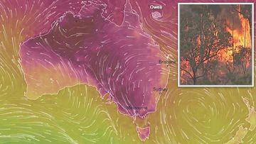 Australia heatwave map bushfires