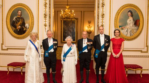 The Duchess of Cornwall, the Prince of Wales, Queen Elizabeth II, the Duke of Edinburgh, and Duke and Duchess of Cambridge. Picture: AAP
