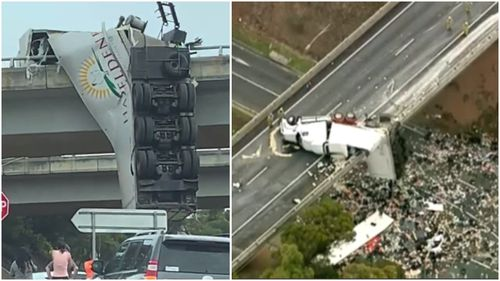 The truck dangling off the Calder Freeway.