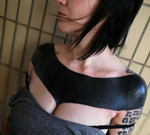 """This tattoo has been dubbed by some online as the """"world's most painful"""". (Facebook / Brutal Black Project)"""
