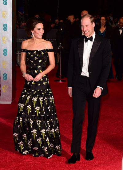 The Duchess of Cambridge Kate Middleton (here with husband Prince William) opted for a classic, full-skirted gown with a nipped waist and just a hint of rebellion, all courtesy of Alexander McQueen.
