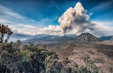 Mount Bromo volcano smoking