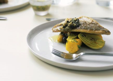 Snapper with saffron-braised potato and green olive dressing