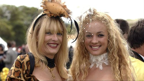 Maureen Boyce, left, with her daughter Angelique at the Melbourne Cup.