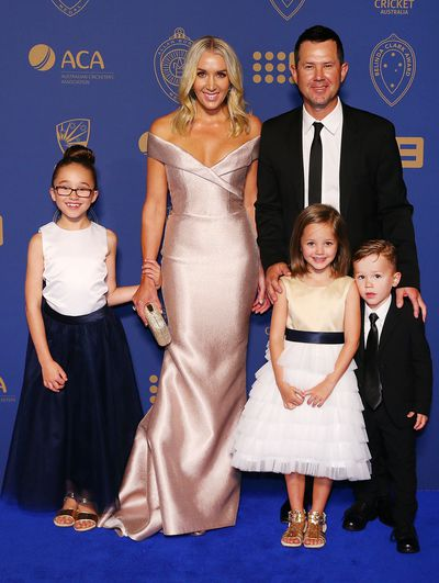 Ricky Ponting and wife Rianna with their three children