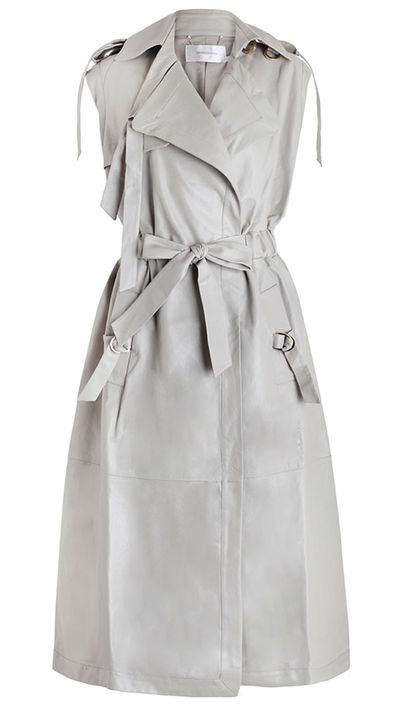 "<a href=""http://www.zimmermannwear.com/the-latest-1/fortune-leather-trench-moonstone.html""> Fortune Leather Trench, $2950, Zimmermann</a>"