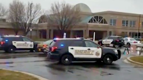 Police at the scene of a shooting at a Maryland high school. (CNN)