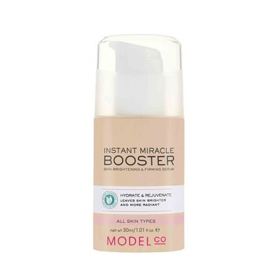 "<a href=""http://www.modelcocosmetics.com/shop/skincare/concern/treat/instant-miracle-booster-skin-brightening-firming-serum"" target=""_blank"">ModelCo</a> Instant Miracle Booster Serum Skin Brightening and Firming Serum, $35.&nbsp;"