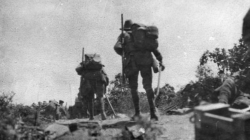Australian troops going into action across Plugge's Plateau on the Gallipoli Peninsula on April 25, 1915.