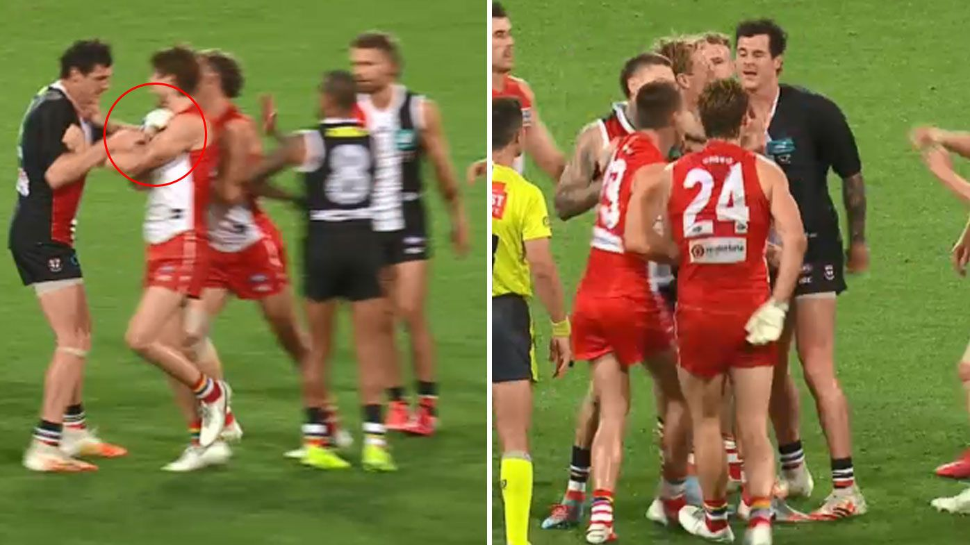 St Kilda's Jake Carlisle slammed over 'shocking' attempt to re-injure Swans star Dane Rampe