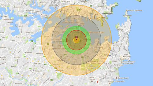 The projected impact of a nuclear bomb on Sydney's CBD. The smallest circle represents a fireball created by the blast. The red circle shows the inner air blast radius. The green circle depicts the almost definitely fatal radiation zone. The grey circle shows the outside air blast radius, and the yellow circle shows those in the thermal radiation zone. (Nukemap)