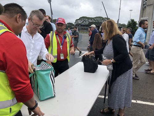 Security check bags at the SCG this morning. (Picture: Jayne Azzopardi)