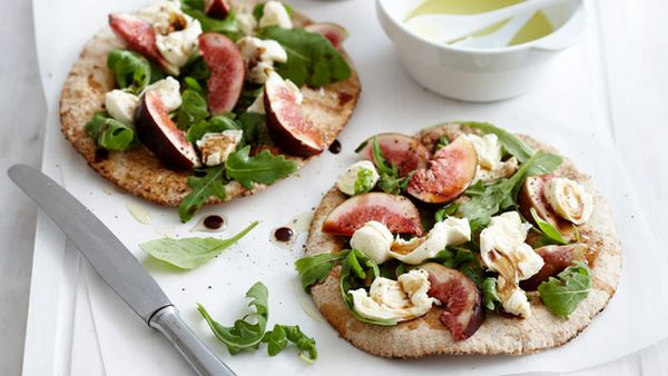 Fresh salad and fig flatbreads