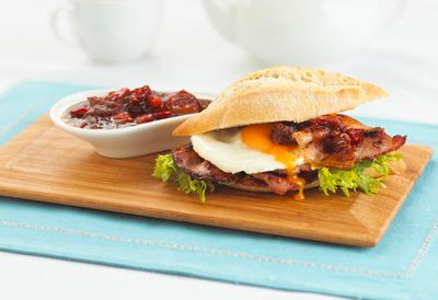 Cafe style bacon and egg roll