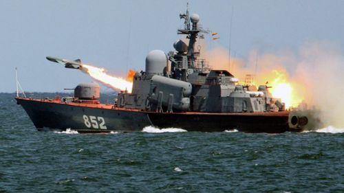 A file photo showing a Russian warship firing a missile during a 2015 Baltic Sea exercise. (Supplied).