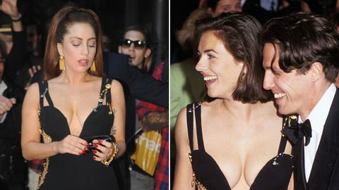 Lady Gaga dresses like Liz Hurley, silences weight critics