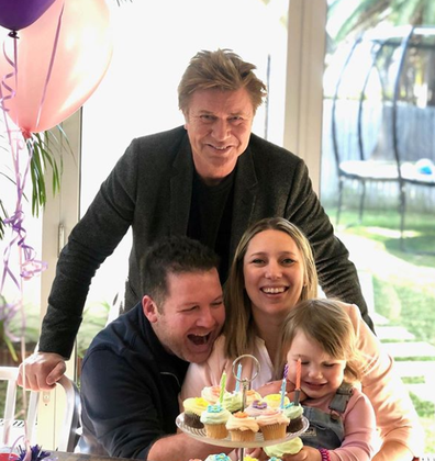 Richard with daughter Becky, son-in-law James and granddaughter Bella.