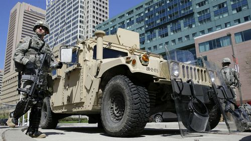 The Maryland National Guard on the streets of Baltimore. (AAP)