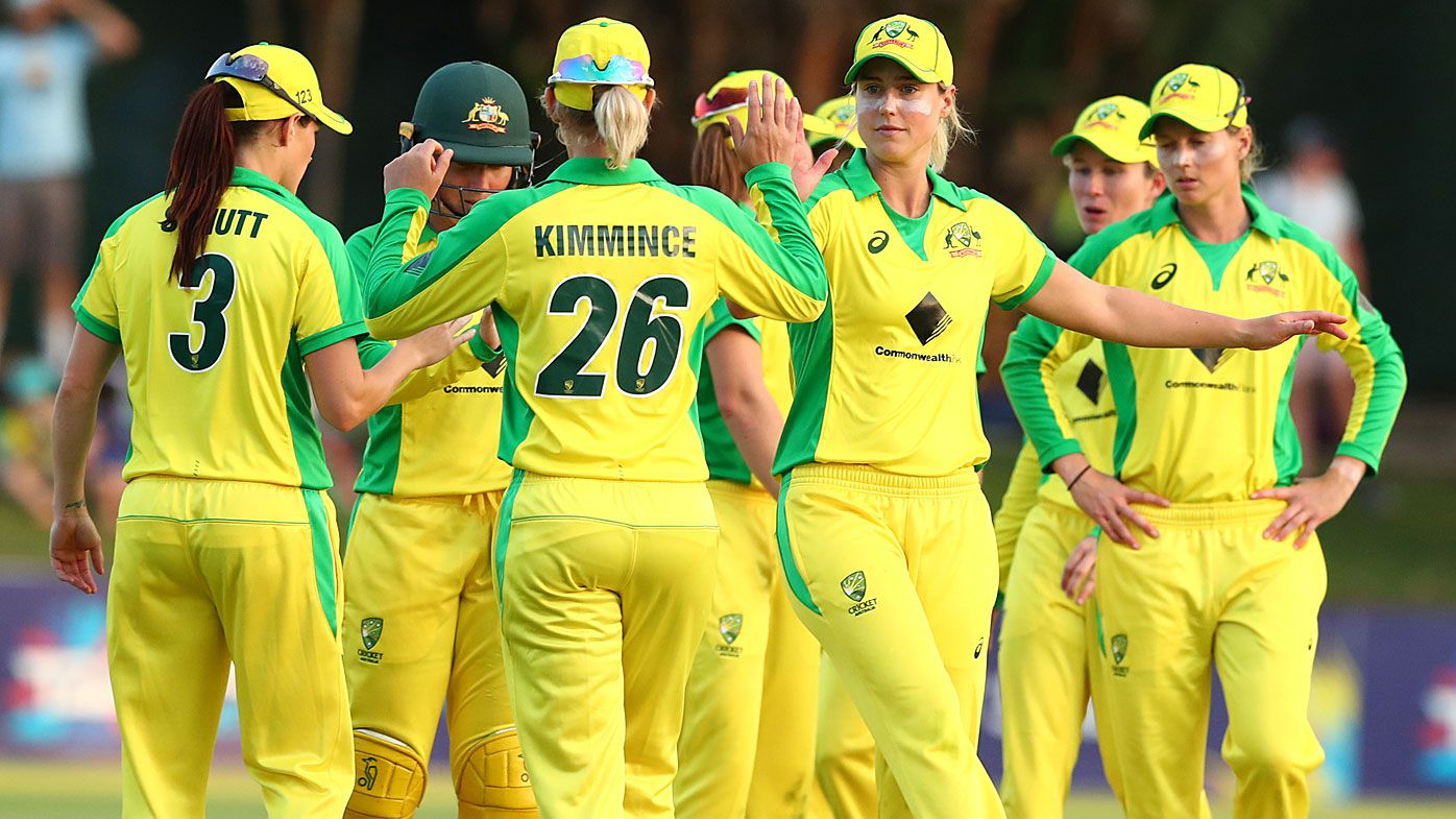 Australia celebrate winning game two of the International Women's One Day International Series between Australia and Sri Lanka