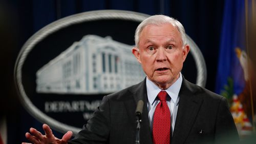 Attorney General Jeff Sessions speaks during a news conference at the Justice Department in Washington in December 2017. (AAP)