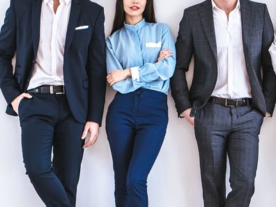 Two businessmen and a businesswoman