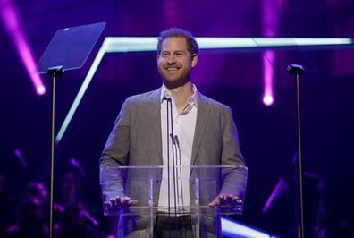 Prince Harry gives a speech at the inaugural OnSide Awards at the Royal Albert Hall on November 17, 2019 in London.