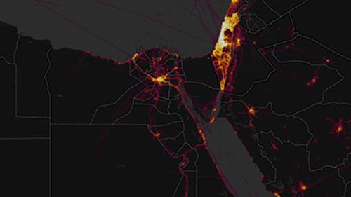 The fitness tracker heat map stands out in the Middle East compared with Western nation. (Image: Strava).
