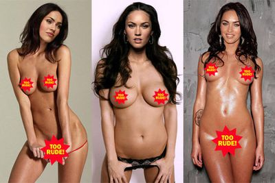 According to the rumours, Megan Fox's laptop was hacked and her private nude photos were leaked online (sure, because we all have tacky porno style shots of ourselves lying around on our  hard drives). Turns out the shots are all fake, of course. Well duh, she has a different set of boobs in every photo!
