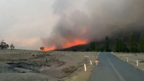 A bushfire burning near Canberra.