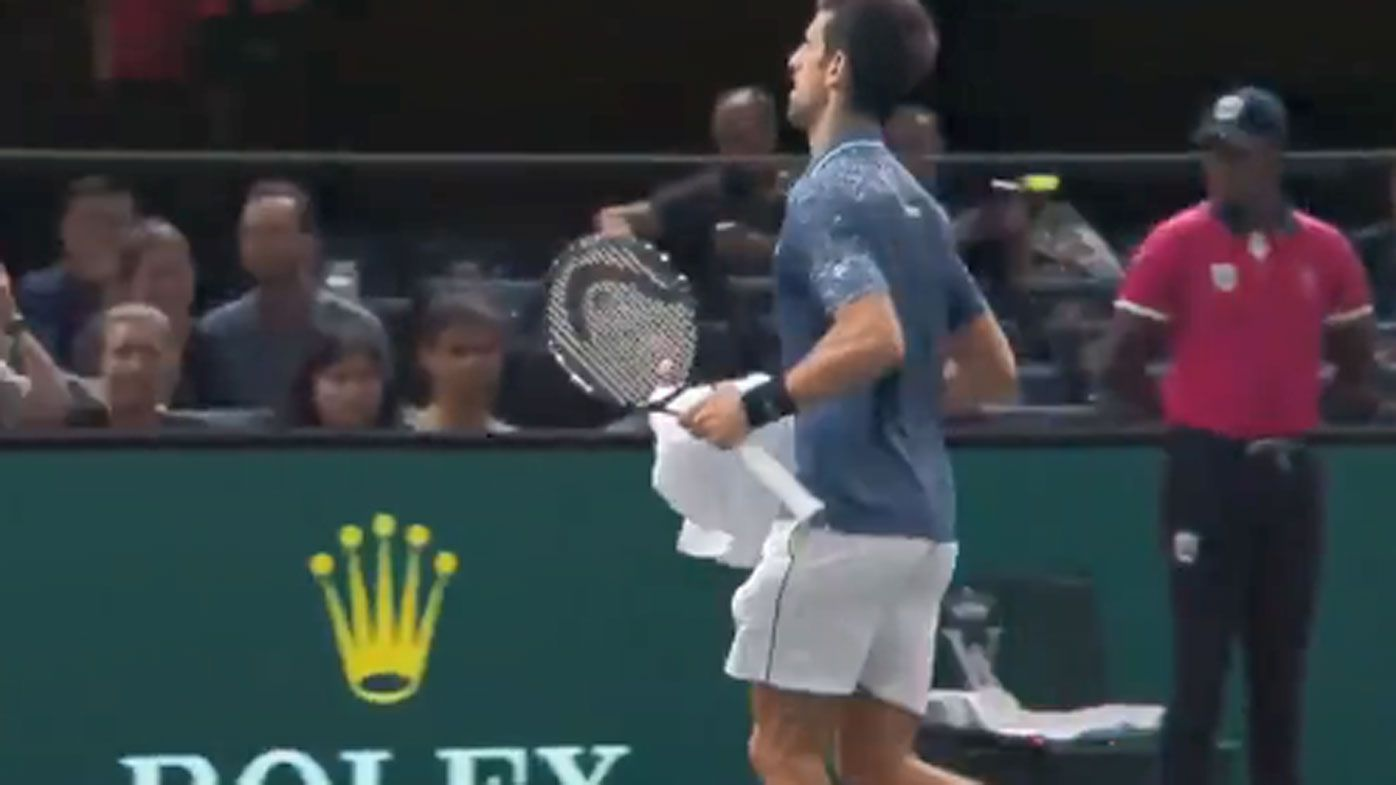 Novak Djokovic helps distressed fan during Paris Masters win