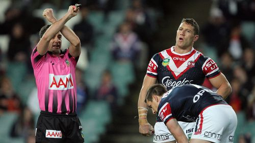 Luke O'Donnell is sent off the field during an NRL game when he was playing for the Sydney Roosters.