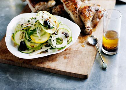 Barbecued spatchcock with zucchini, fennel and olive salad