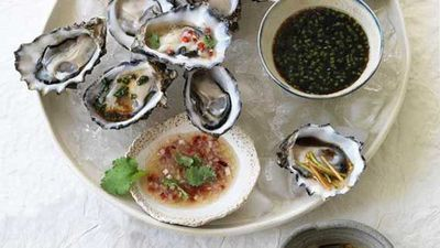 """Everyone knows that oysters are the food of love, so triple your joy with our <a href=""""http://kitchen.nine.com.au/2016/05/04/15/26/oysters-three-ways"""" target=""""_top"""">oysters three ways</a> recipe"""