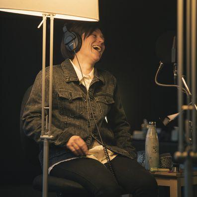 Yael Stone recording Winding Road podcast.