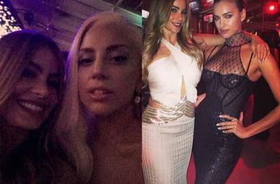We love that Sofia Vergara loves a celeb selfie as much as we do! Here she is poutin up next to Lady Gaga and Irina Shayk at the Vanity Fair after-party.