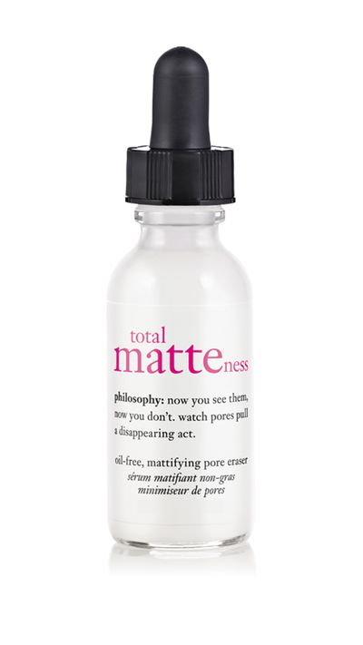 "<p><a href=""http://www.adorebeauty.com.au/philosophy-total-matteness-oil-free-visible-pore-eraser.html"" target=""_blank"">Total matteness oil-free, mattifying pore eraser, $50, Philosophy</a></p>"