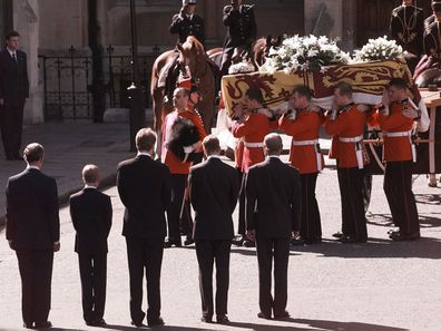 Princess Diana's coffin is brought to Westminster Abbey during her funeral, 1997.